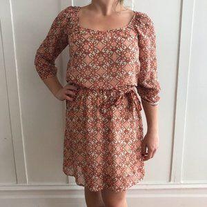 macy's orange patterned belted dress - women's m